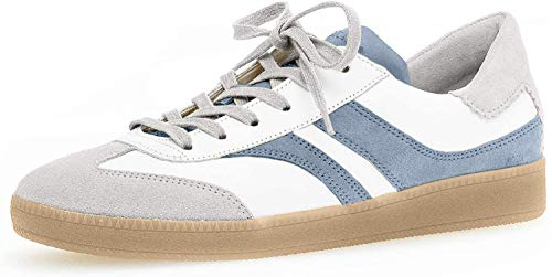 Gabor Damen Sneaker, Frauen Low-Top Sneaker,Comfort-Mehrweite,Optifit- Wechselfußbett, leger Halbschuh schnürer,Weiss/lt-Grey/Aqua,38 EU / 5 UK