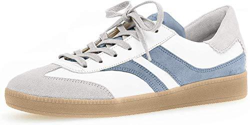 Gabor Damen Sneaker, Frauen Low-Top Sneaker,Comfort-Mehrweite,Optifit- Wechselfußbett, weibliche Ladies feminin,Weiss/lt-Grey/Aqua,40 EU / 6.5 UK