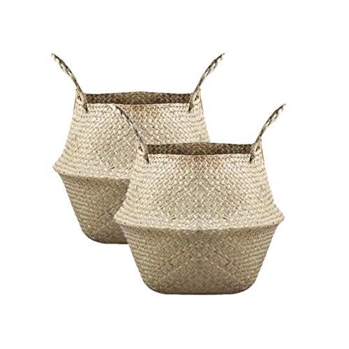 N,A Paquete de 2 cestas plegables de mimbre con mango de mimbre redondo natural para almacenamiento de plantas de madera plegable con mango de mimbre redondo para flores