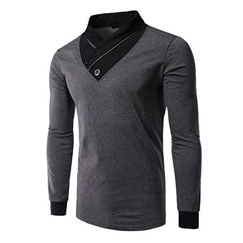 T-Shirt Men Top Men Sport Fashion V-Neck Cotton Blend Casual Men T-Shirt Autumn New Comfortable Fashion Stretch Fabric Slim Patchwork Men Top Fashion Men's Clothing B-Gray 4XL