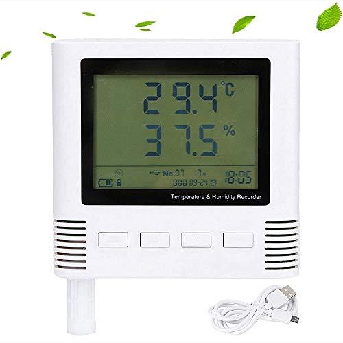 Higrómetro digital, registrador de temperatura y humedad, carga automática USB, alarma doble, pantalla LCD de 2.88 ', ± 0.2 ℃ ± 2% HR 26W, monitor de humedad interior para el hogar, la oficina, el inv