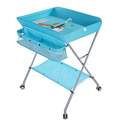 EGREE Baby Changing Table Portable Folding Diaper ChangingStation with Wheels, Adjustable Height Mobile Nursery Organizer with Safety Belt and Large Storage Racks for Newborn Baby and Infant, Blue