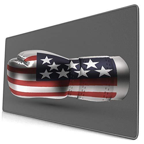 Großes dekoratives Gaming-Mauspad,Boxhandschuhe Usa amerikanische Flagge,lange Computermausmatte mit rutschfester Gummibasis für Büro/Spiele/Zuhause