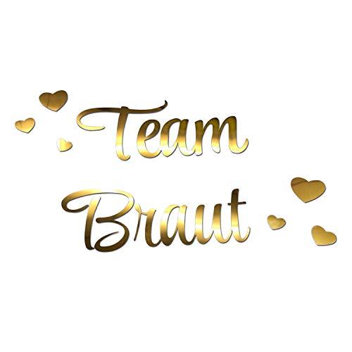 Oblique Unique® Bügelbild für JGA Junggesellinnenabschied Hochzeit - Braut to Be - Team Braut - Braut Crew + Herzen Bilder zum Aufbügeln - Motiv wählbar (Team Braut)