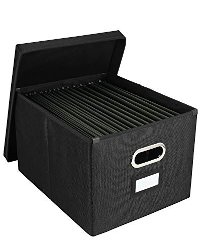 EasyPAG Collapsible File Storage Box with Lid Desk Filing Organizer Bins with Inner Metal Brackets for Letter and Legal Size Hanging File Folder 2 PackBlack