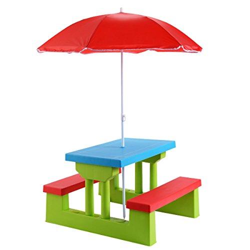 COSTWAY Kinder Sitzgruppe Sitzgarnitur Kindermöbel mit Sonnenschirm Kindertisch Picknickbank (Bunt)