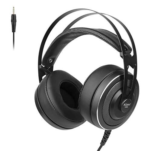 Xiauyu - Auriculares con cable sobre la oreja, plegables, sonido envolvente para juegos con orejeras de proteína de memoria suave, micrófono integrado y modo de cable para juego/PC/TV