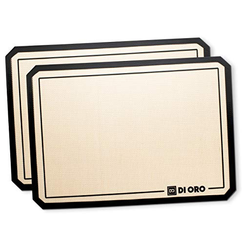 DI ORO Pro-Grade Silicone Baking Mat - Nonstick Silicone Baking Sheets - 480°F Heat Resistant - 16 1/2' × 11 5/8' Half Sheet - Food Grade, BPA Free, LFGB Certified Silicone - Easy to Clean (2-PC)