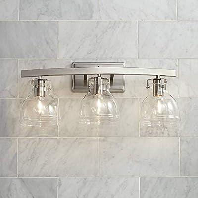 "Bellis Modern Industrial Wall Light Brushed Nickel Hardwired 23 1/2"" Wide 3-Light Fixture Clear Glass for Bathroom Vanity Mirror - Possini Euro Design"
