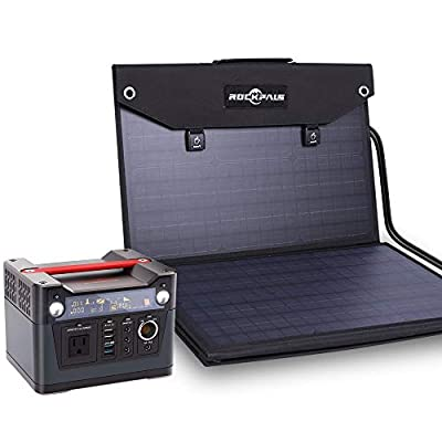 ROCKPALS 300W Portable Power Station and ROCKPALS Foldable 100W Solar Panel Charger, CPAP Backup Battery Pack for Camping, Home, Emergency