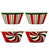 Christmas Dishes Bowls for Candy Dip Decorations - Pack of 4 Holiday Candy Cane Red White and Green Bowls, 3.5' Diameter (Christmas Table Decor)
