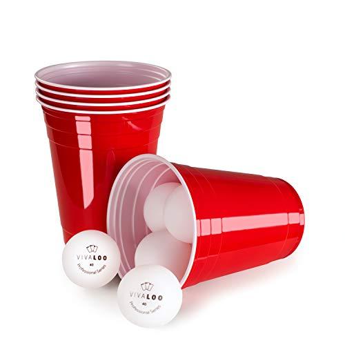 Vivaloo 100 Wiederverwendbare Trinkbecher, Bierpongset inkl. 12 Bälle und offizieller Spielanleitung - Trinkbecher Red Cups, Rote Beer Pong Becher 473ml 16oz