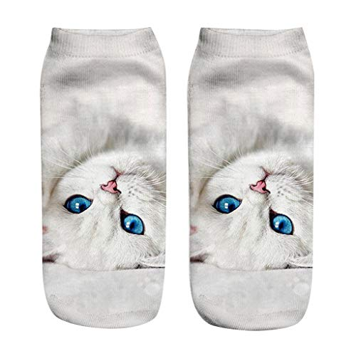 Kolylong® Erwachsene, Baumwolle, 3D Katzenabdruck Druck, lustige Socken, klare & lebendige Tiger/Katzentatzen-Socken für Männer & Frauen, 20 cm Kurz Socke 3D-Katze Druck Niedrige Socken Unisex