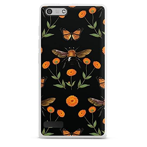 DeinDesign Silikon Hülle kompatibel mit Huawei Ascend P7 Mini Hülle weiß Handyhülle Blumen Biene Natur