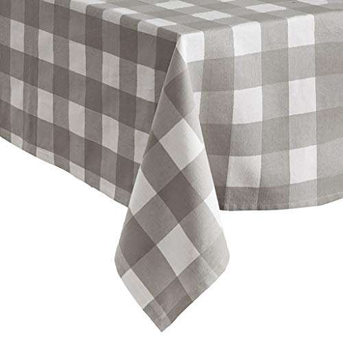 Elrene Home Fashions Farmhouse Living Buffalo Check Tablecloth, 52' x 52', Gray/White