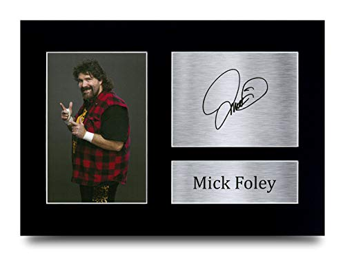 A4 HWC Trading A4 Mick Foley Gifts Printed Signed Autograph Picture for WWE /& WWF Memorabilia Fans