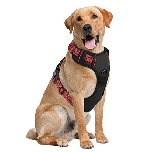 Pawaboo Hundegeschirr für Hunde, Groß Größe kein Ziehen Verstellbar Hunde Brustgeschirr, Weich Atmungsaktiv Leicht Hunde Sicherheitsgeschirr aus Reflektierend Oxford - Schwarz+Rot