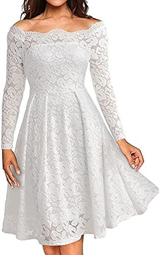 Vestido para mujer, estilo vintage, floral, con cuello en barco, con hombros descubiertos, cóctel, vestido formal