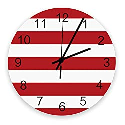 LUSWEET Wall Clock Silent 12 Inch Round Battery Operated Wood Clocks, Bold Stripe Pattern Red White Non-Ticking Kitchen Wall Clock for Home/Office/Classroom/School Clock Wall Decor
