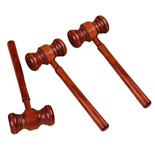 STOBOK 3 Peças de Martelo de Madeira Martelo Mallet Rústico Clássico Do Vintage para O Juiz Advogado Estudante Presidente Sala de Leilão Gavels 17X6.2CM