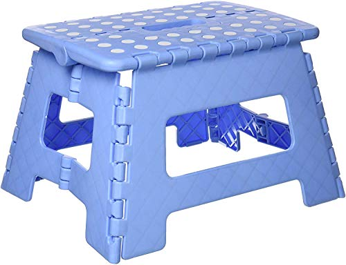 Ossian Heavy Duty Folding Step Stool – Sturdy Anti Slip Stepping Stool for Kids Adults at Home Kitchen Workplace - Compact Lightweight Folds Flat with Carry Handle Easy Storage Transport (Blue)