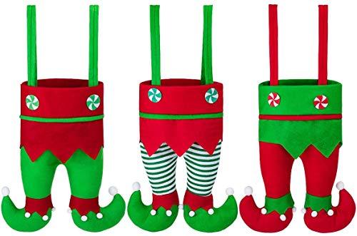 Richaa 3 Stück Weihnachten Weinflasche Taschen, Christmas Elf Weinflaschenabdeckung Weihnachtsdeko für Weihnachtstisch & Wein Dekoration