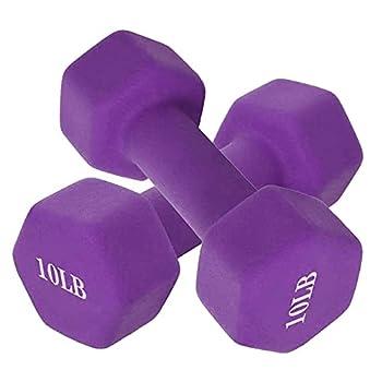 10 lb Dumbbell Set of 2 Hand Weights Neoprene Coated Dumbbell Pair Exercise Fitness Dumbbells for Men Women Home Gym Full Body Workout Strength Training