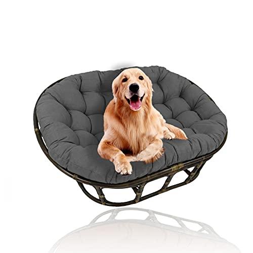 YHWL Cojines dobles Papasan, cojín para silla de huevo, cojines colgantes para silla con lazos, cojines para silla de columpio, solo para jardín al aire libre, patio, jardín, gris, 40 x 80 cm