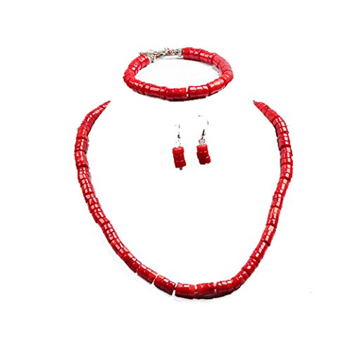 Stunning Red Coral Necklace Bracelet and Earrings Set
