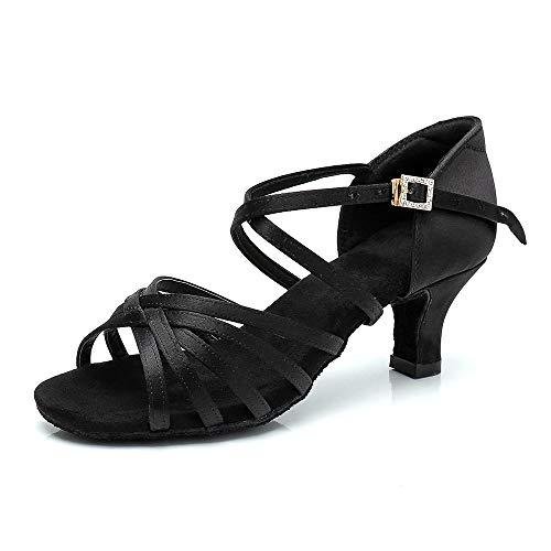 RoseMoli Women's Latin Dance Shoes Satin Professional Ballroom Salsa Practice Performance Dance Shoes Black-2.2