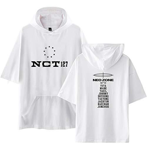 NCT 127 Camiseta Manga Corta Basica Mujer Hombre Sudadera Swag Blusa con Capucha Camisa Béisbol Jersey Hoodie Sweatshirt Sueter Verano Pulover Hip Hop Jumper Tunica Top A15259TX162M