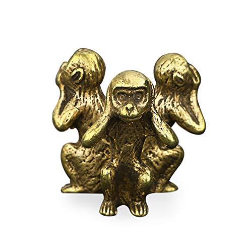GWJS Kupfer Tier Figur, Tu Das Alte AFFE Dekoration Handwerk Kunst Home Decoration Desktop Büro Dekoration Geschenk Kupfer 1.4zoll