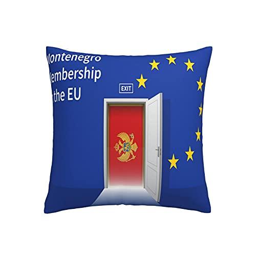 Wand mit Montenegro Flagge, Kissenbezug, quadratisch, dekorativer Kissenbezug für Sofa, Couch, Zuhause, Schlafzimmer, Indoor Outdoor, niedlicher Kissenbezug 45,7 x 45,7 cm