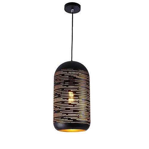 ZCCLCH De una sola cabeza de la lámpara de hierro forjado restaurante Retro simple E27 Personalidad Bar Industrial viento Araña creativa hueco Dot metal que cuelga de la lámpara principal Comedor dorm