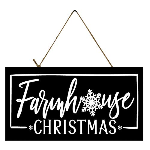 XJJ88 Black and White Farmhouse Christmas Printed Funny Wood Sign 25 * 10CM Wall Christmas Decoration