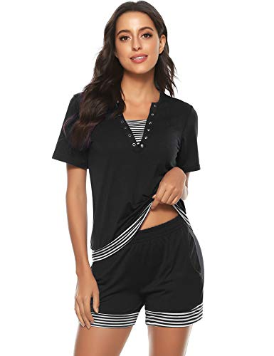 Tee Shirt et Short Femme Manches Courtes Ensembles Survêtement Sportswear Sweat Suit Zipper Casual Jogging Pyjama d'intérieur Tenue Noir S