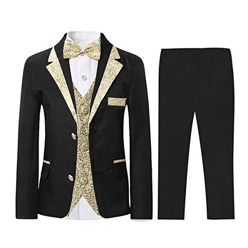SWOTGdoby Boys Slim Fit Suits 5 Pieces Blazer Vest Shirt Pants Bowtie Jacket with Gold Rims for Wedding Party Prom
