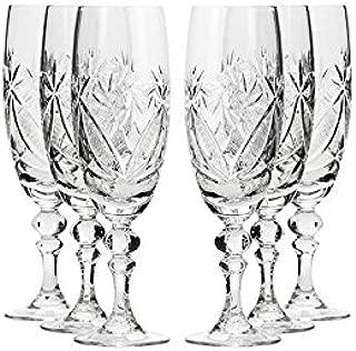 Set of 6 Neman Glassworks, 6-Oz Hand Made Vintage Russian Crystal Glasses, Champagne Flutes Old-fashioned Glassware