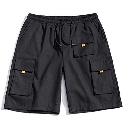 Feidaeu Hommes Casual Shorts Multi-Pocket Lâche Droite Confortable Respirant Cordon Taille Élastique Pantalon