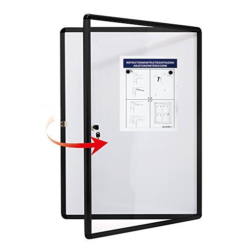 Swansea Schaukasten Abschliessbar 4X4A, Infokasten Plakatschaukasten Magnetisch Innen, Schwarz Alu Rahmen, Acrylglas