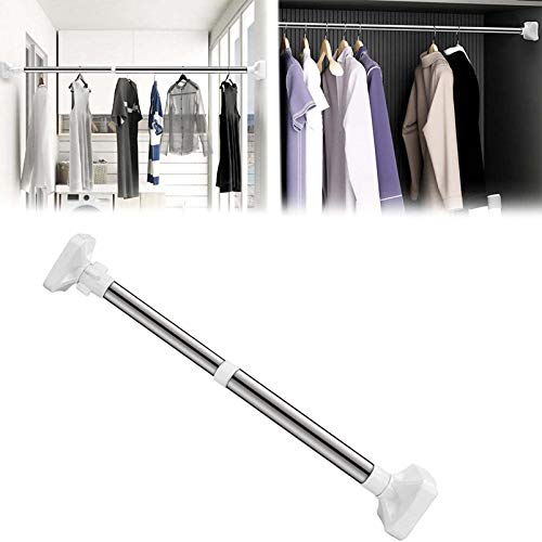 No Drill Extendable Telescopic Shower Curtain Tension Rod Aluminium Stainless Steel Pole Rail Bath Closet Hanging Pole for Bath Door Window Shower Bedroom and Doorway (50-80cm)