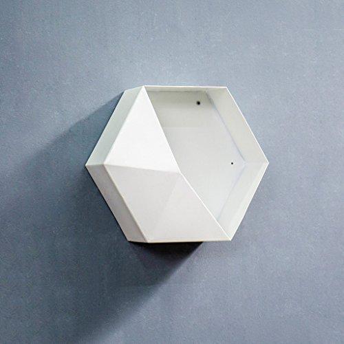TLMY Étagère hexagonale en Fer forgé, étagère Murale, Mur de la Salle à Manger, 30 x 13 x 30 cm (Blanc, Jaune, Marron) étagère (Color : White)