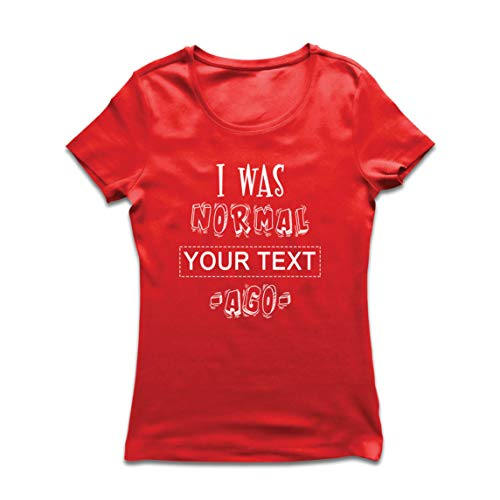 lepni.me Camiseta Mujer Personalizado Era Normal Texto Personalizado Hace un Regalo Personalizado (X-Large Rojo Multicolor)