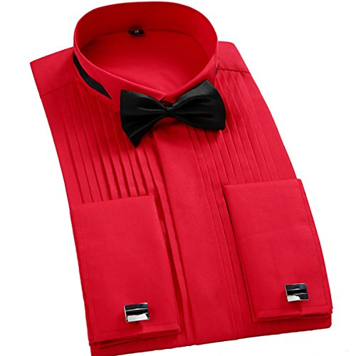 TAOBIAN Mens Pleated Tuxedo Shirt French Cuff Formal Dress Shirt Wing Tip Collar Red US Small