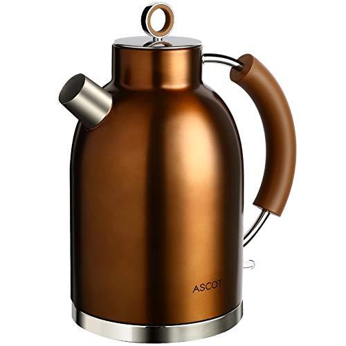 Wasserkocher Edelstahl, ASCOT Elektrischer Wasserkessel, 2200 W, 1,6 liter, Retro Design, kabelloser Teekocher, BPA frei, Trockengehschutz, automatische Abschaltung,leiser Schnellkochkesse (Kupfer)