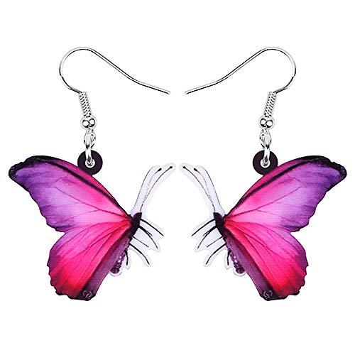 N\A Pendientes de Insectos de Mariposa púrpura acrílica Colgante Largo de Animal Accesorios de Verano para niña Femenina-Rojo