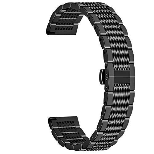 Juntan Correa de repuesto para reloj de malla de 20mm para mujeres hombres Correas reloj de liberación rápida Banda de reloj de metal negro con hebilla de mariposa