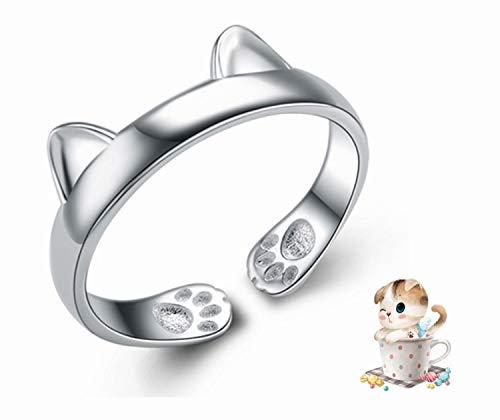 Lindo anillo ajustable con orejas de gato para perro, anillos de plata esterlina para niñas, anillo de dedo con apertura para amantes de las mascotas, collar pendientes joyería de moda regalo creativo