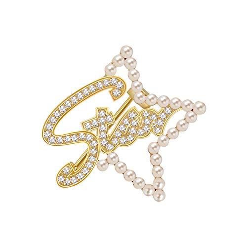 ZPEE Broche de Mujer Joyas Mujer Estrella Perla Broche Crystal Broches & Pernos Broche de Tela para Mujer de Ropa