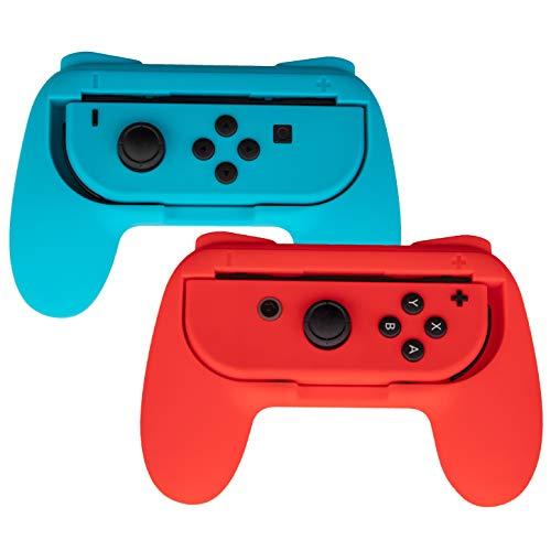 TTech 2er Set Joy-Con Griffe für Nintendo Switch, ergonomische Halterung für Controller, Zubehör, Rot, Blau